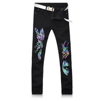 2017 New Black Skinny Jeans Men Fashion Luminous Wolf Printed Animal Painted Stretch Denim Jeans Men