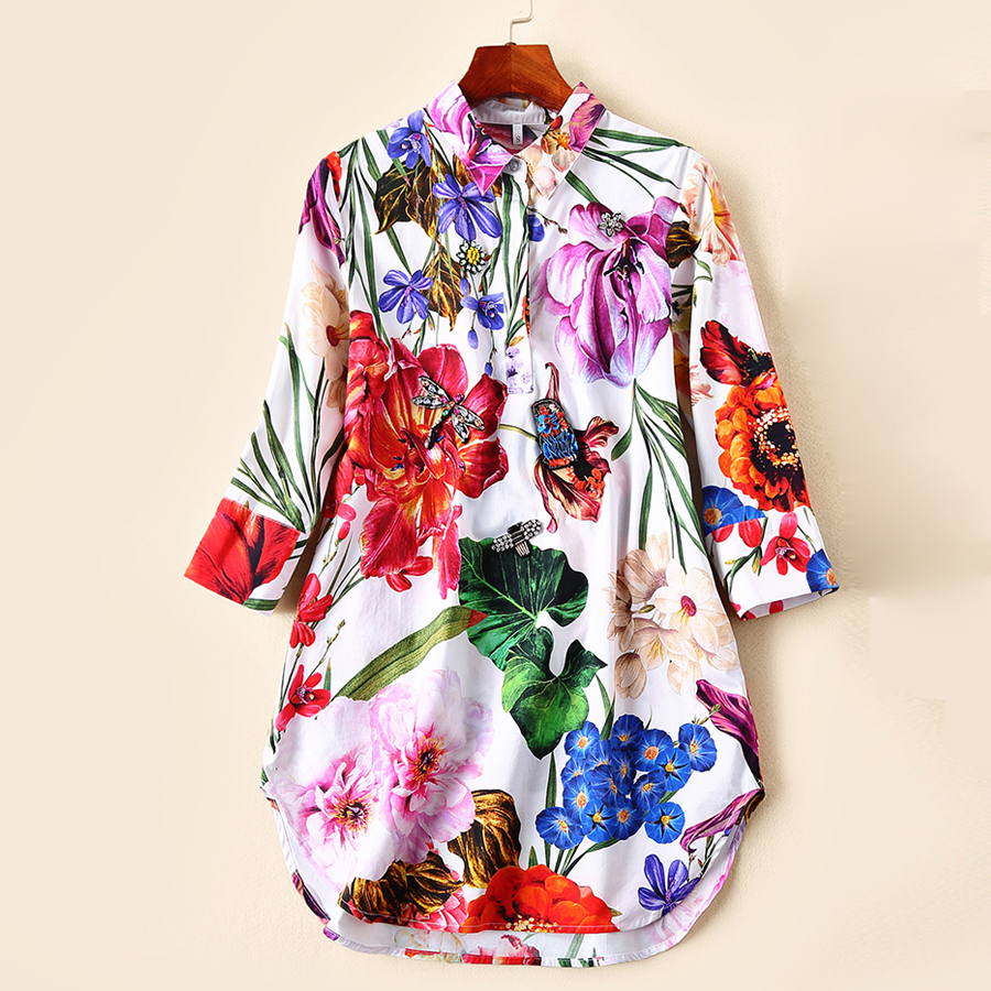 Red RoosaRosee New Spring Summer 2019 Women s Cotton Dress Luxury Manual Diamonds Colorful Floral Print