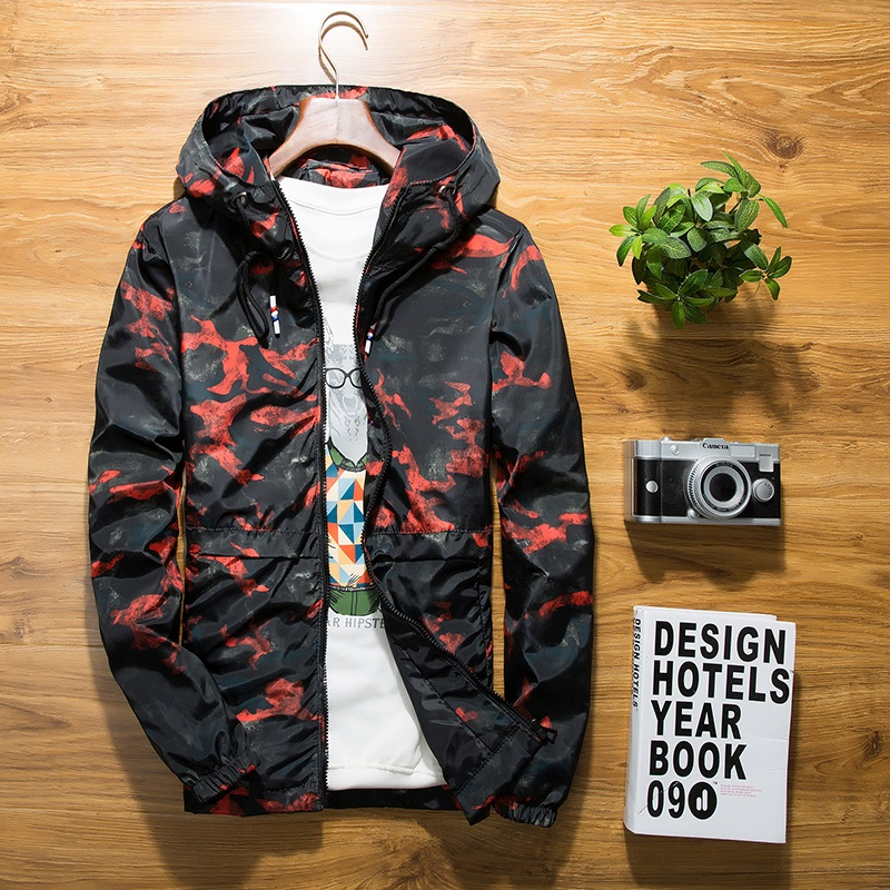 B new Spring Autumn Mens floral Camouflage Hoodie Jacket Men Waterproof Clothes Mens Windbreaker Coat Male Outwear plus size in Jackets from Men 39 s Clothing