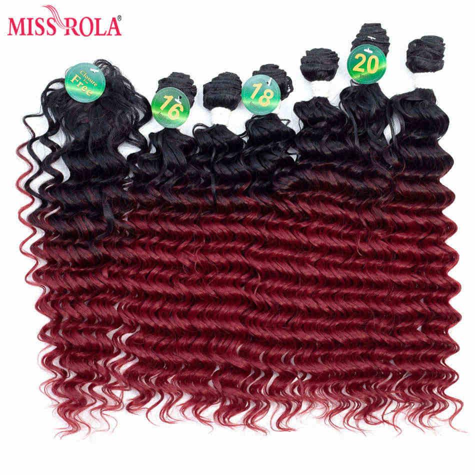 Miss Rola Ombre extensiones de cabello sintético onda profunda cabello tejido tramas de cabello T1B/BUG con cierre gratis 16- 20 pulgadas 6 unids/pack 200g