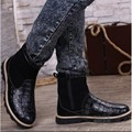Crocodile Skin Snow Mens Winter Boots Round Toe Natural Leather Cuban Heel Thick Soled Fur Lined High Top Fashion Warm Side Zip