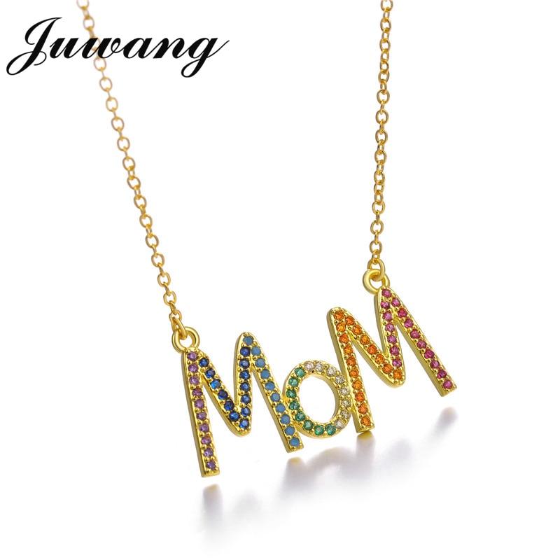 JUWANG multicolore mode 'MOM' breloque or pendentif collier Micro pavé Zircon lettre initiale colliers Couple nom collier 4