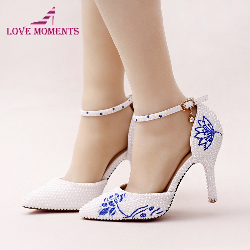 2018 New White Pearl Pointed Toe Wedding Shoes Gorgeous Design Blue Rhinestone Flower Bridal Dress Shoes with Ankle Straps asymmetric rhinestone design flower embroidered denim dress