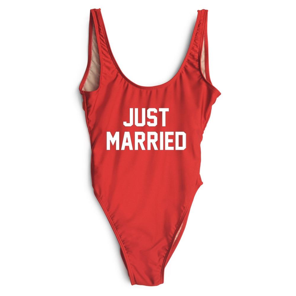 New One Piece Swimsuit JUST MARRIED 2018 Sexy Thong Women red Swimwear Backless Bikini Female Brazilian May Bather Monokini XL