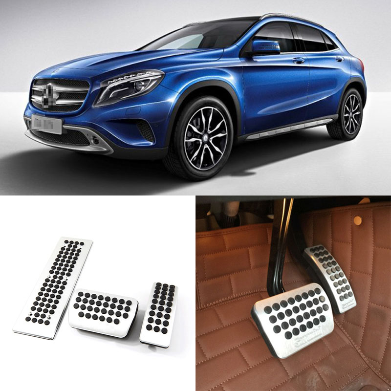 Brand New 3pcs Aluminium Non Slip Foot Rest Fuel Gas Brake Pedal Cover For Benz GLA AT 2015-2016 brand new 2pcs aluminium non slip foot rest fuel gas brake pedal cover for hyundai sonata 8th at 2011 2015