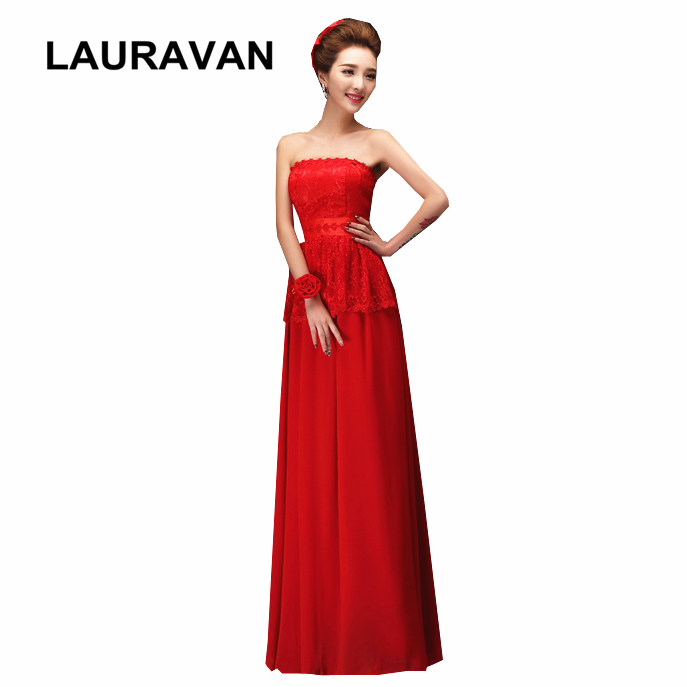 cheap formal lace chiffon long pretty strapless bridesmaid special occasion dresses gown 2020 red teens gowns for wedding