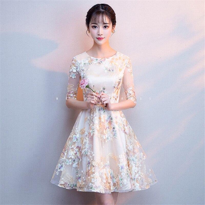 Robe de soirée femmes Champagne XS-2XL grande taille une ligne Mini robes 2019 nouveau printemps été Floral élégant mince robe Vestido LD1042