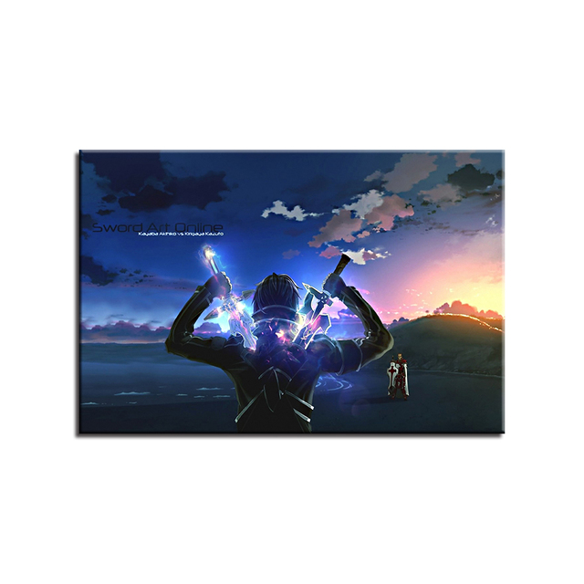 Canvas Paintings Home Decor HD Prints Poster 1 Piece/Pcs Sword Art Online Kirito Anime Pictures Living Room Wall Art Framework 3