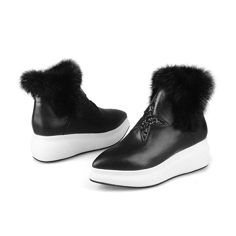 2018 Boot Fourrure Pu Mao Femme Black Bling Wetkiss Mode Bout Casual Pointu Nouveau Bottes Li Fille Chaussures Cheville Femmes Hiver De Femelle Plate forme Hn8B7vHxq