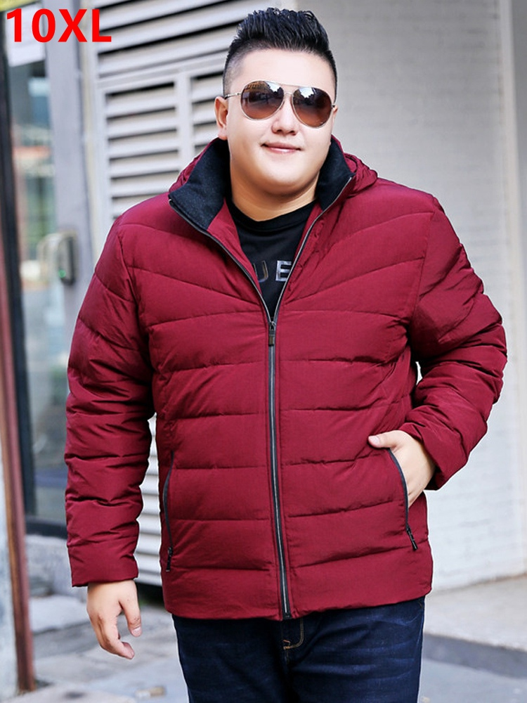 Big size Winter 7XL jacket red loose detachable cap Jacket Mens jacket thick   coat   tide Big size   down   jacket 7XL 8XL 9XL 10XL