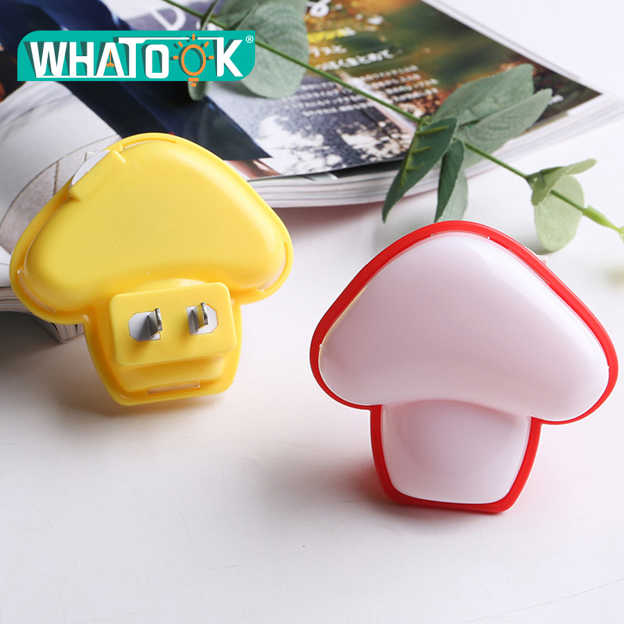 Mushroom Night Lights Novelty Led Lighting EU US Plug Socket Wall Lamp Indoor Decor Baby Bedroom Decoration Rainbow Luminaria AC