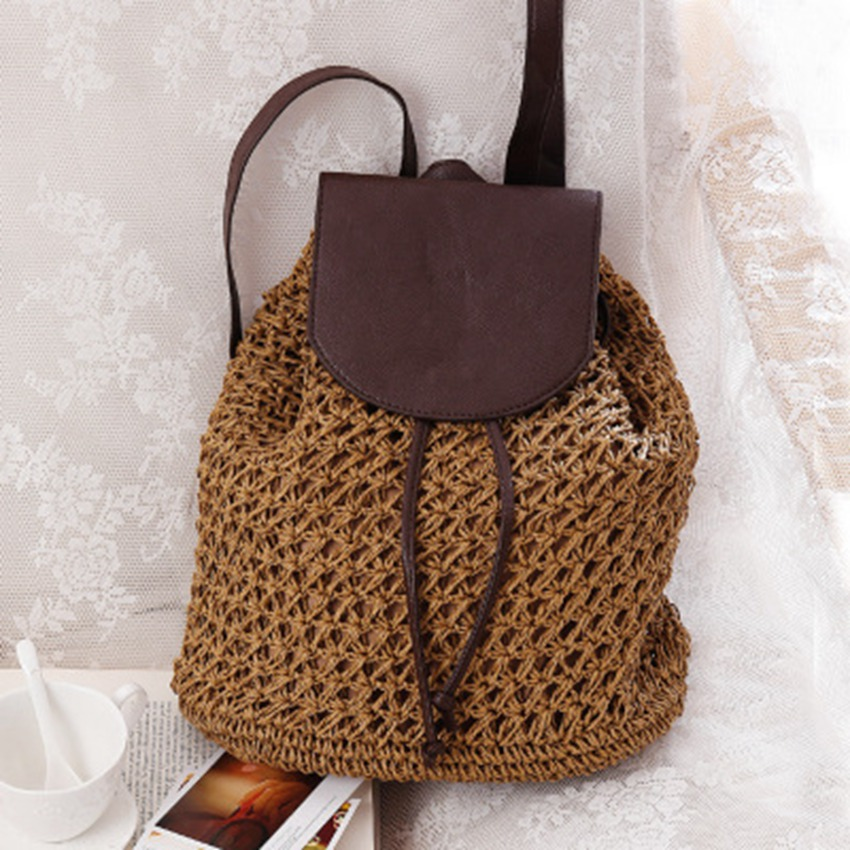 British Summer New Backpack Straw Knitted Bag Travel Vacation Leisure Beach Bag Grass Woven Bag Women's Bag