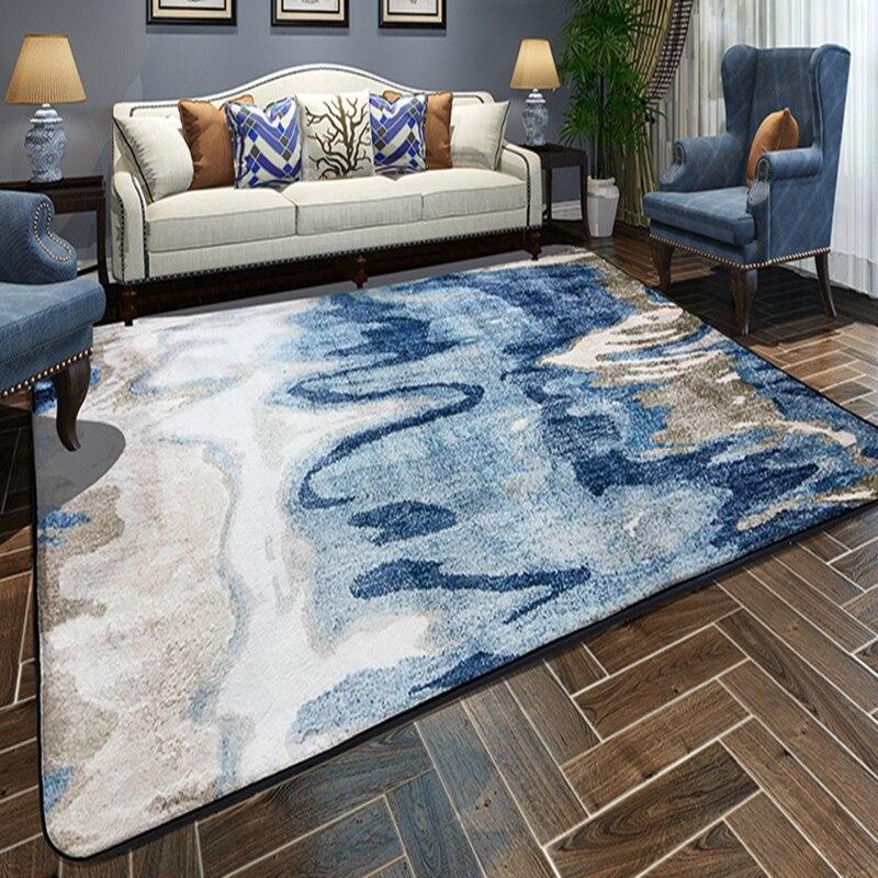 Tapis abstrait de chambre à coucher de Style moderne de tapis de plancher imprimé par peinture pour le salon Tapete antidérapant tapis de Rectangle de ménage