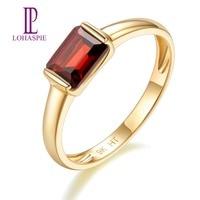 LP Customized Natural Gemstone Garnet Engagement Ring 9K 10K 14K 18K Yellow Gold Fine Fashion Stone Jewelry for Women's Gift