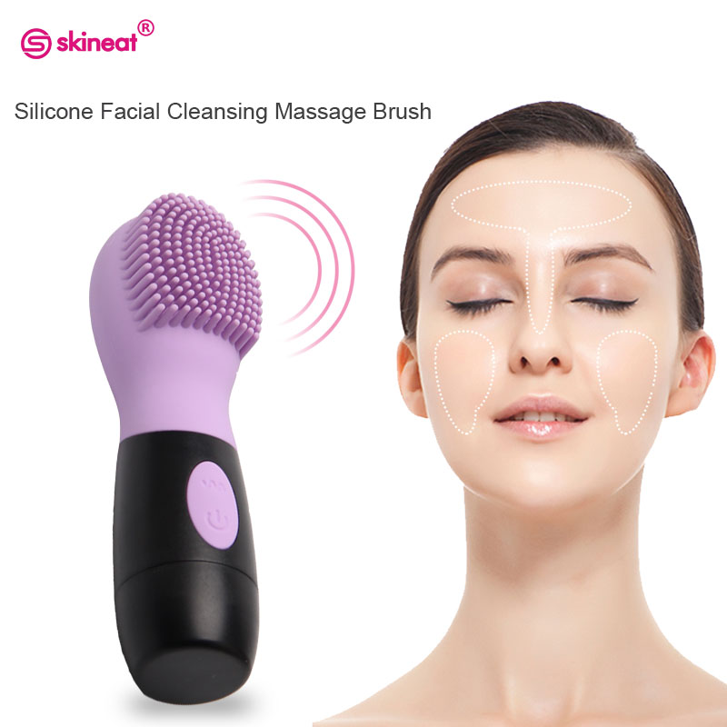 Skineat Silicone Facial Cleansing Brush Electric Face Cleanser Pore Oil Clean Vibration Massager For Skin Care Body Massage