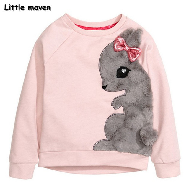 Little maven winter girls brand clothes children warm brushed cotton lovely squirrel thick Hoodies & Sweatshirts WY064
