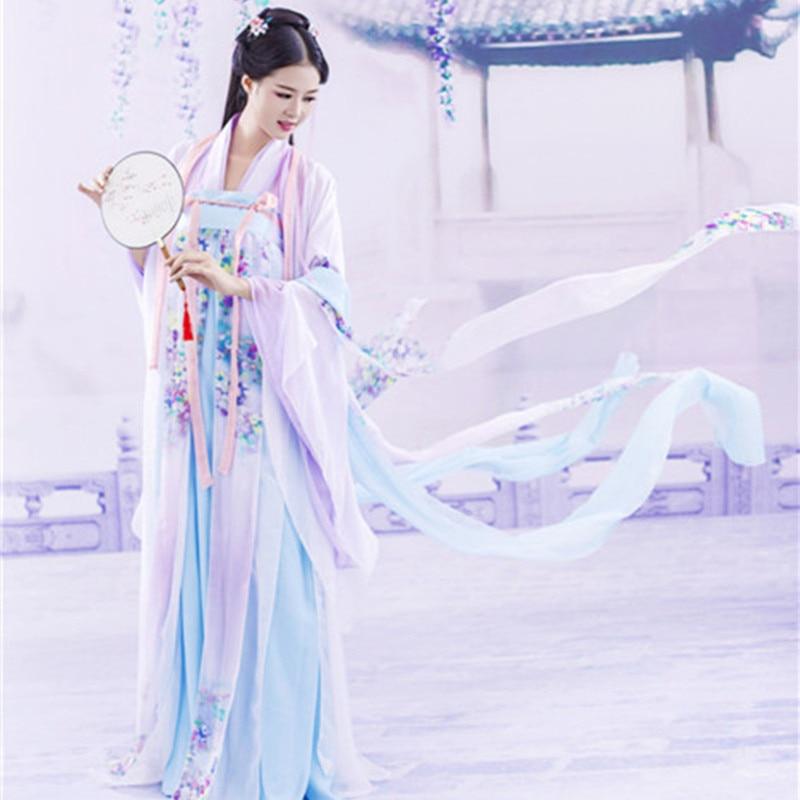 Hot Women Chinese Han Dynasty Ruqun Hanfu Suit Cosplay Long Sleeve Dress Costume