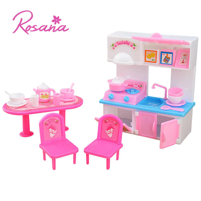 20 Pcs Kitchen Set for Barbie Doll House Furniture Dinner Table Cupboard Sink Kitchenware Simulation Tableware Dolls Accessories