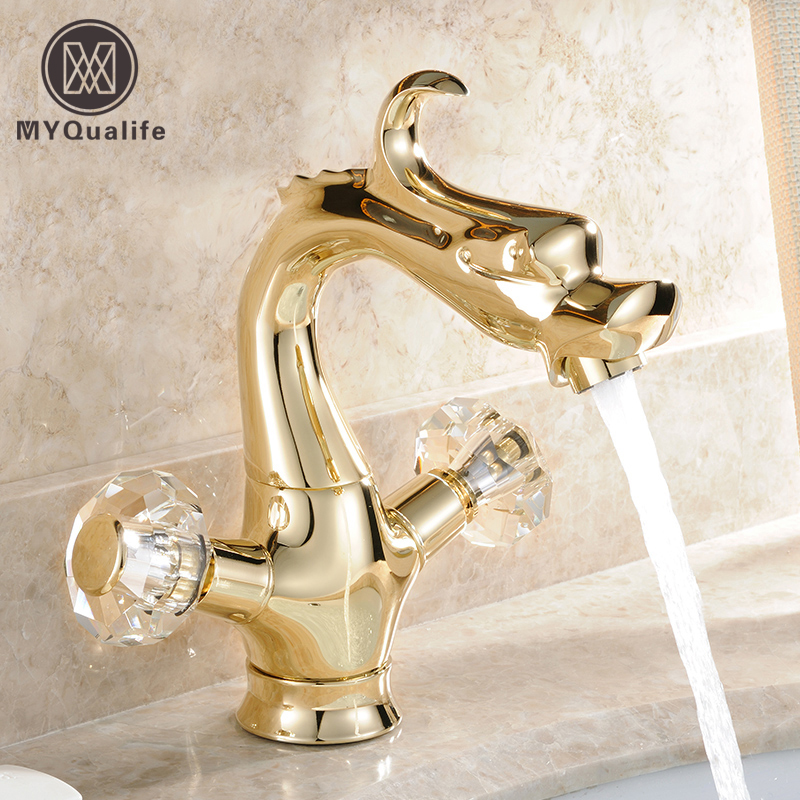 Luxury Gragon Shape Bathroom Golden Vessel Sink Faucet Double Crystal Handles Basin Mixer Tap with Hot and Cold Water new deck mount golden basin faucet white paint swan shape vessel sink mixer tap