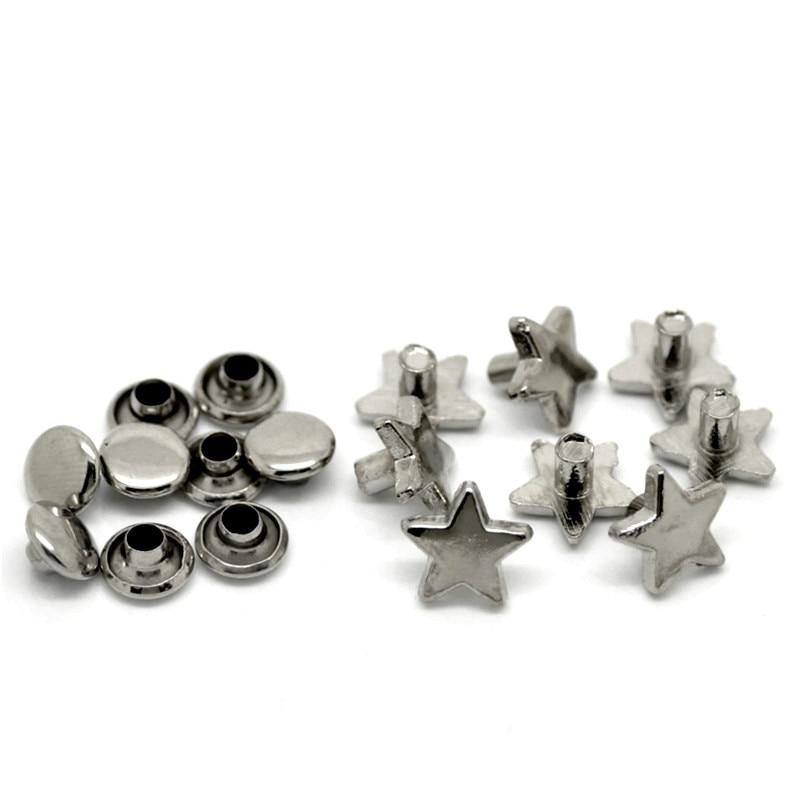 b0bc748d2 50 Sets Tono de plata Pentagram metal pico remache studs spots para  sombreros Bolsas piezas decorativas 9x9mm 8 x 4mm
