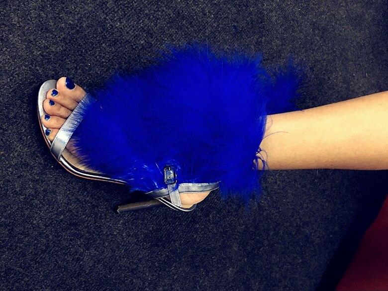 Da Pista Mujer Delle Show Pompe Sandalias Sandali Alti Donne Degli Blu Nuziale Partito Del Talloni Toe Pelliccia Di As Pattini Marea Sexy Donna Scarpe Mostra Cerimonia Signore Peep 4xOtpq