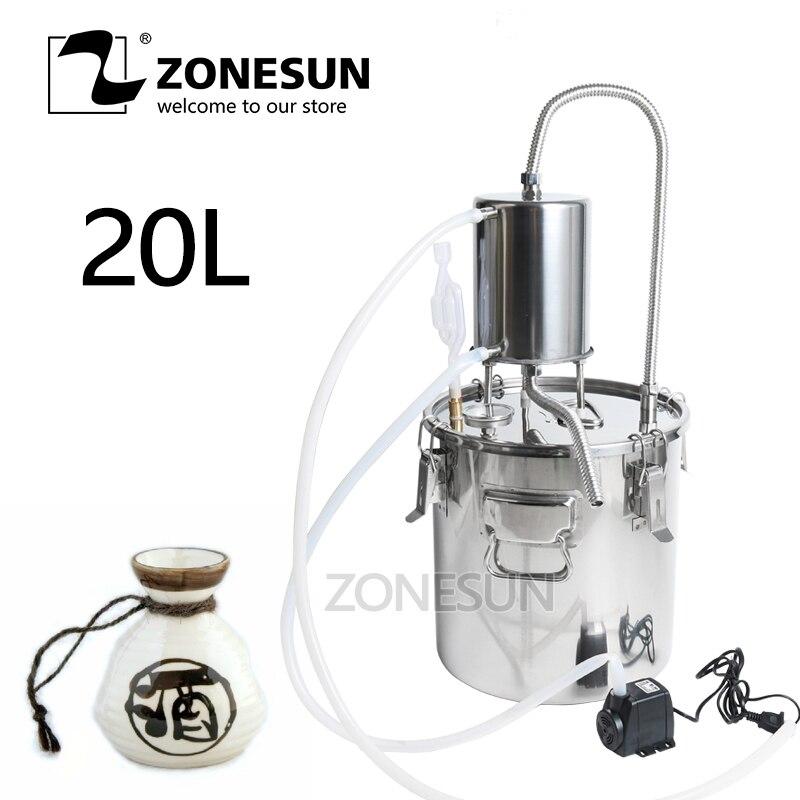 ZONESUN vin bière alcool eau distillateur Moonshine Mini maison eau de Rose huile essentielle Alkol bricolage Kit de brassage équipement inoxydable-in Distillateurs from Maison & Animalerie    1