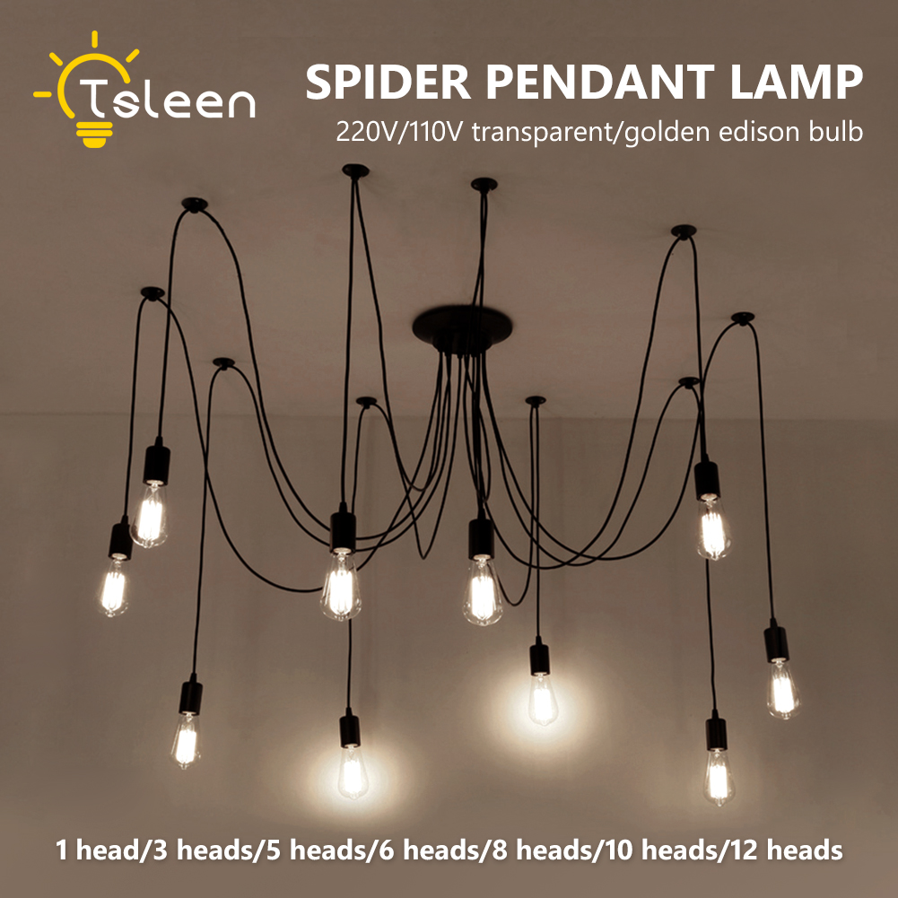 Luminaire Suspension Vintage Us 12 49 44 Off Vintage Spider Pendant Lights Luminaire Lamp Loft E27 Industrial Lighting Retro Loft Hanging Suspension Fixtures Home 110v 220v In
