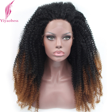 Yiyaobess Kinky Curly Black Brown Grey Blonde Ombre Lace Front Wig Synthetic Medium Length Wigs For African American Women стоимость