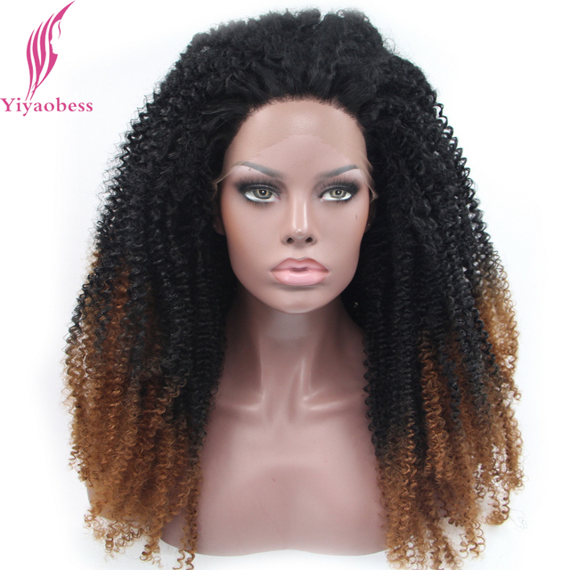 Yiyaobess Kinky Curly Black Brown Grey Blonde Ombre Lace Front Wig Synthetic Medium Length Wigs For African American Women