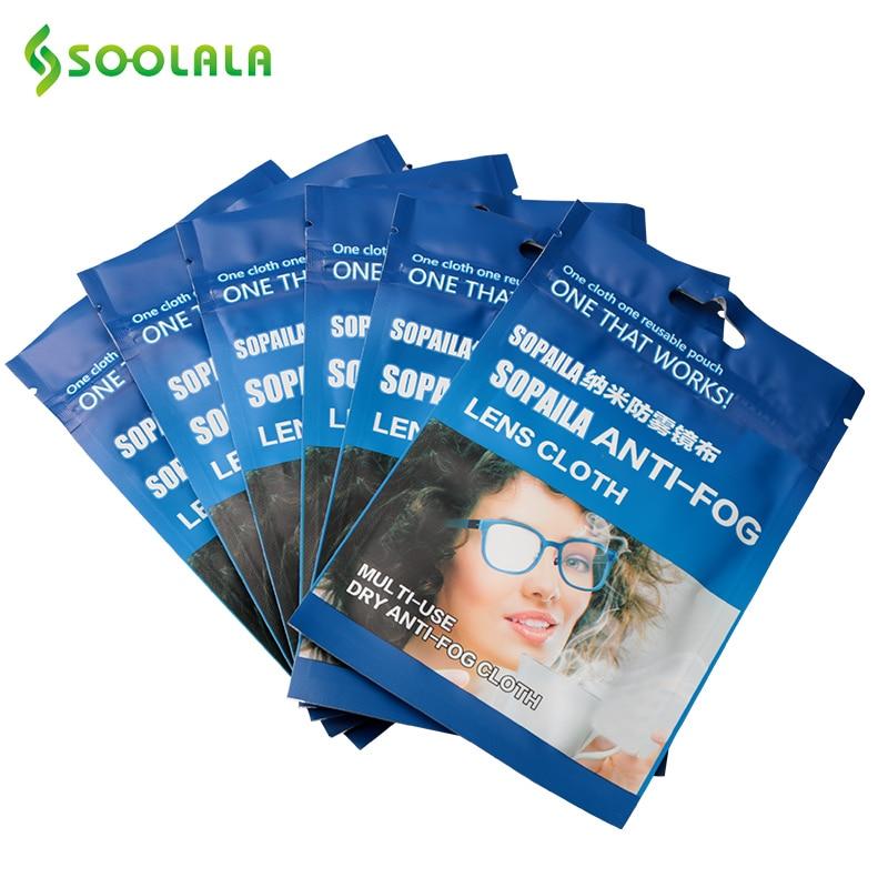 SOOLALA 6pcs 15x15cm Eyeglasses Anti-fog Cloth Microfiber Cloth Fabric Glasses Cleaner For Spectacles Lenses Camera Phone Screen