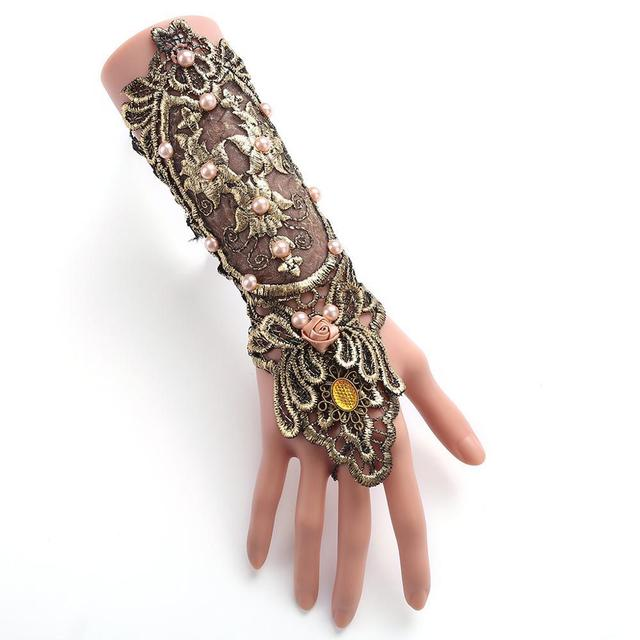 Vintage Gothic Queen Golden Lace Gloves Medieval Victorian Armband Cosplay Accessory Sexy Hollow Out pearl Costumes Accessories 2