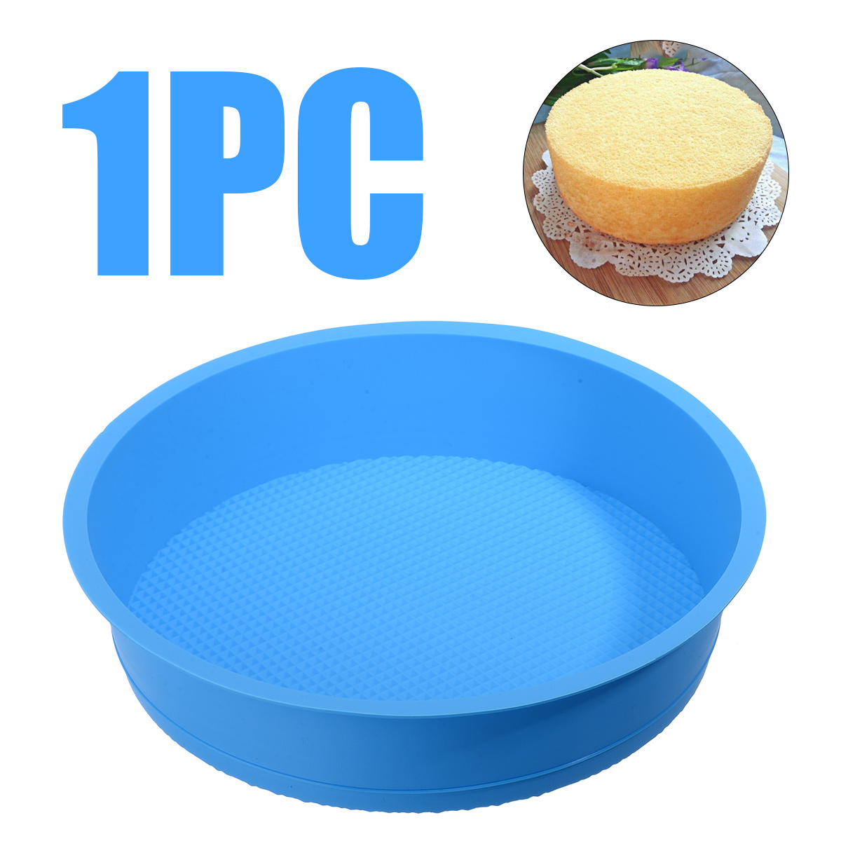 1pcs Silicone <font><b>Round</b></font> <font><b>Cheese</b></font> Cake <font><b>Mold</b></font> Tray Kitchen DIY Fondant Cake Bread Pastry <font><b>Mold</b></font> Pan Heat Resistant Baking Tool 26x5.7cm image