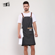 Original KEFEI restaurant accessories leather apron cartoon kitchen bib denim logo print vintage aprons for women lady