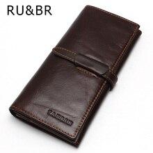 RU & BR 100% Top Echtem Rindsleder Hohe Qualität Männer Lange Brieftasche Casual Geldbörse Vintage Designer Männlich Carteira brieftaschen