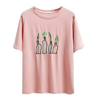Summer Fashion Women Harajuku Bottle Plants Pattern Embroidery T Shirts Cotton Short Sleeve Funny Ladies Black