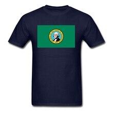 Flag of Washington WA est 1889 USA Shirt Men Geek Short Sleeve Father's Day Custom XXXL Party T-shirts