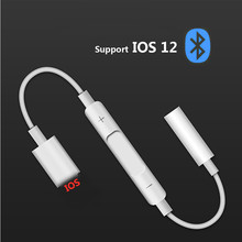 For Lightning to 3.5 mm headphone jack adapter Bluetooth audio converter for call iPhone 6 6S 7 8 plus X XS XR Max IOS sp double jack audio adapter for iphone 7 8 x xs xr support ios 12 charging music or call for lightning headphone adapter converter