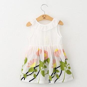Hurave Girl Dress Floral Print 2017 Summer Dress Girls V neck Embroidered Vest Children Cloth Toddlers Infant Vestidos Menina