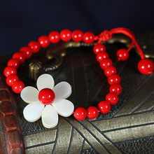 Sweet Cute Shell Flower Simple Handmade Strand Bracelets Red Coral Beads or Green Beads Elastic String Ethnic Jewelry FREE SIZE(China)