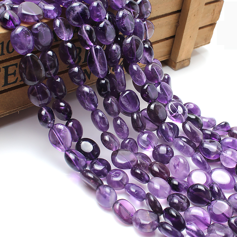 GMB724 Natural Stone Beads 8-10mm Irregular Amethyst Purple