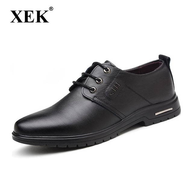 XEK 2018 spring and autumn men's leather shoes leather business dress men's shoes pointed casual shoes Plus size ZLL303