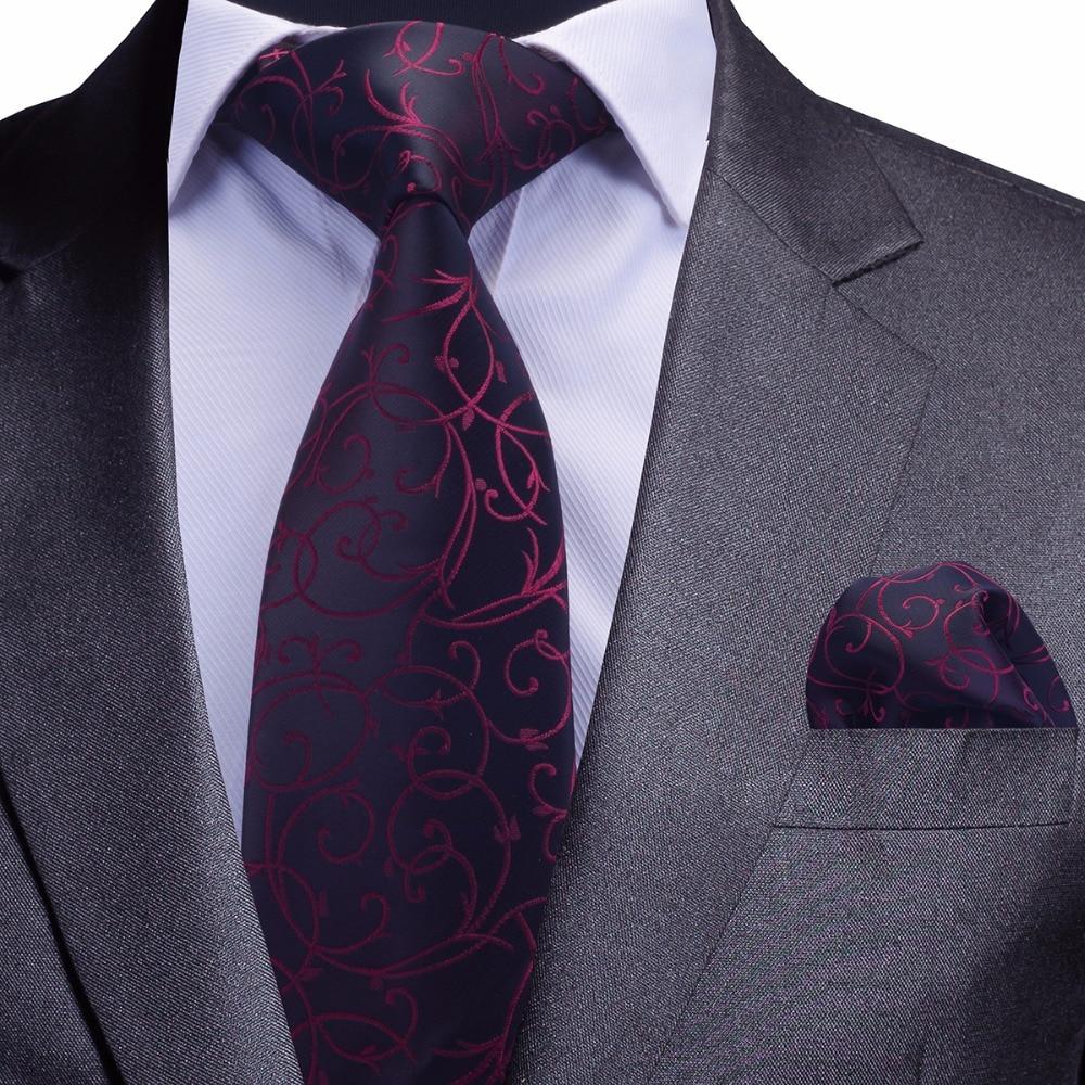 GUSLESON Quality Tie Set For Men Blue Floral Tie And Handkerchief Silver Necktie Man Corbatas Hombre Pocket Square Wedding Tie