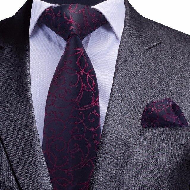 b8ae70cd0af11 GUSLESON qualité cravate ensemble pour hommes bleu Floral cravate et  mouchoir argent cravate homme Corbatas Hombre