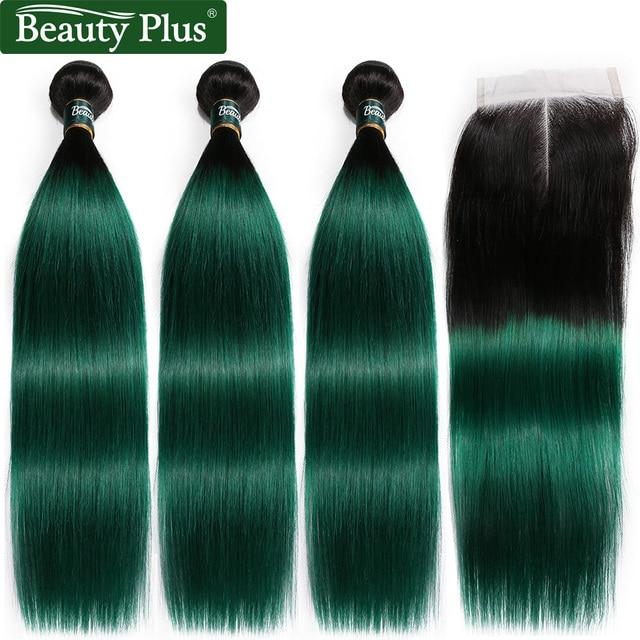 Красота ПЛЮС человеческие волосы пучки с закрытием Омбре 1B зеленый бразильский прямые накладные волосы расширение 3 пучка с закрытием не Реми