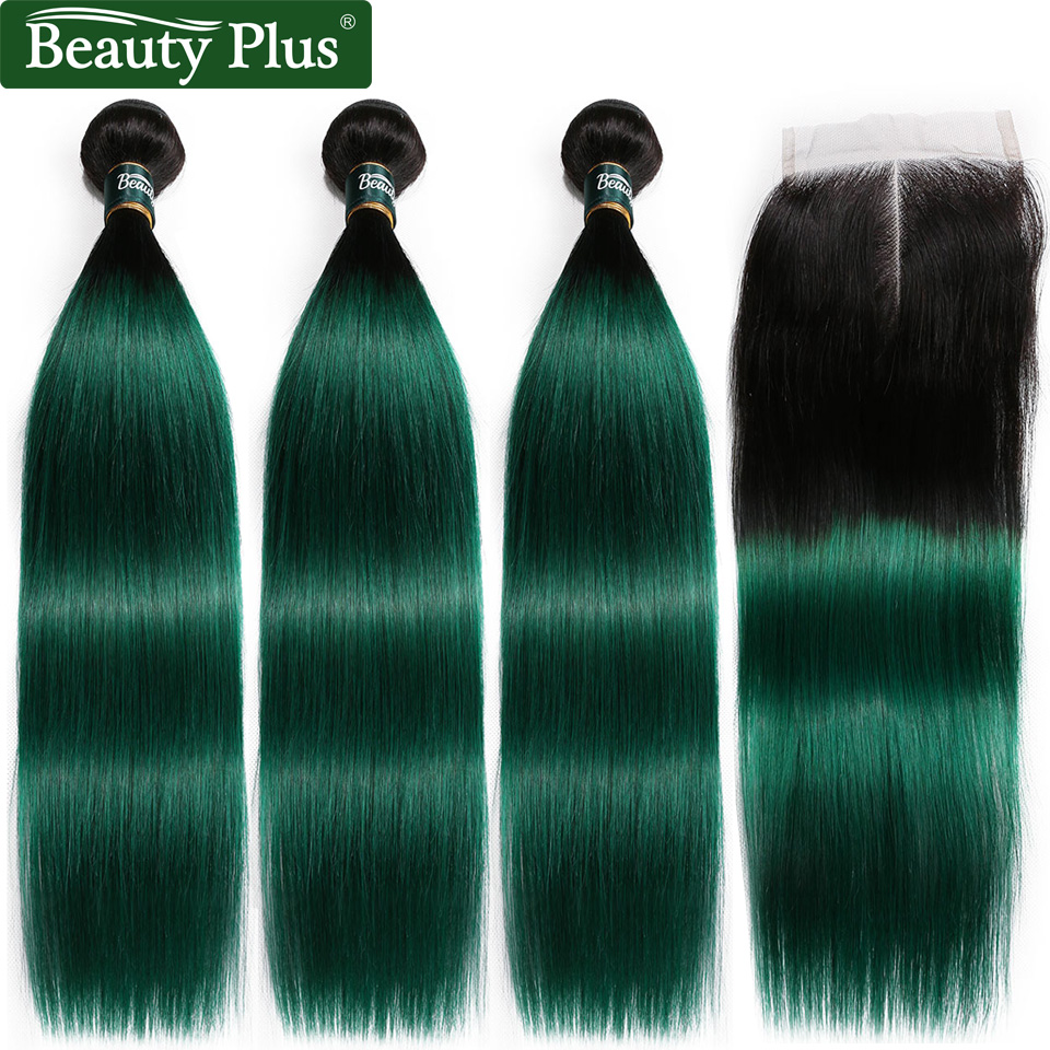 Beauty Plus Human Hair Bundles With Closure Ombre 1B Green Brazilian Straight Weave Extension 3 Bundles With Closure Non Remy
