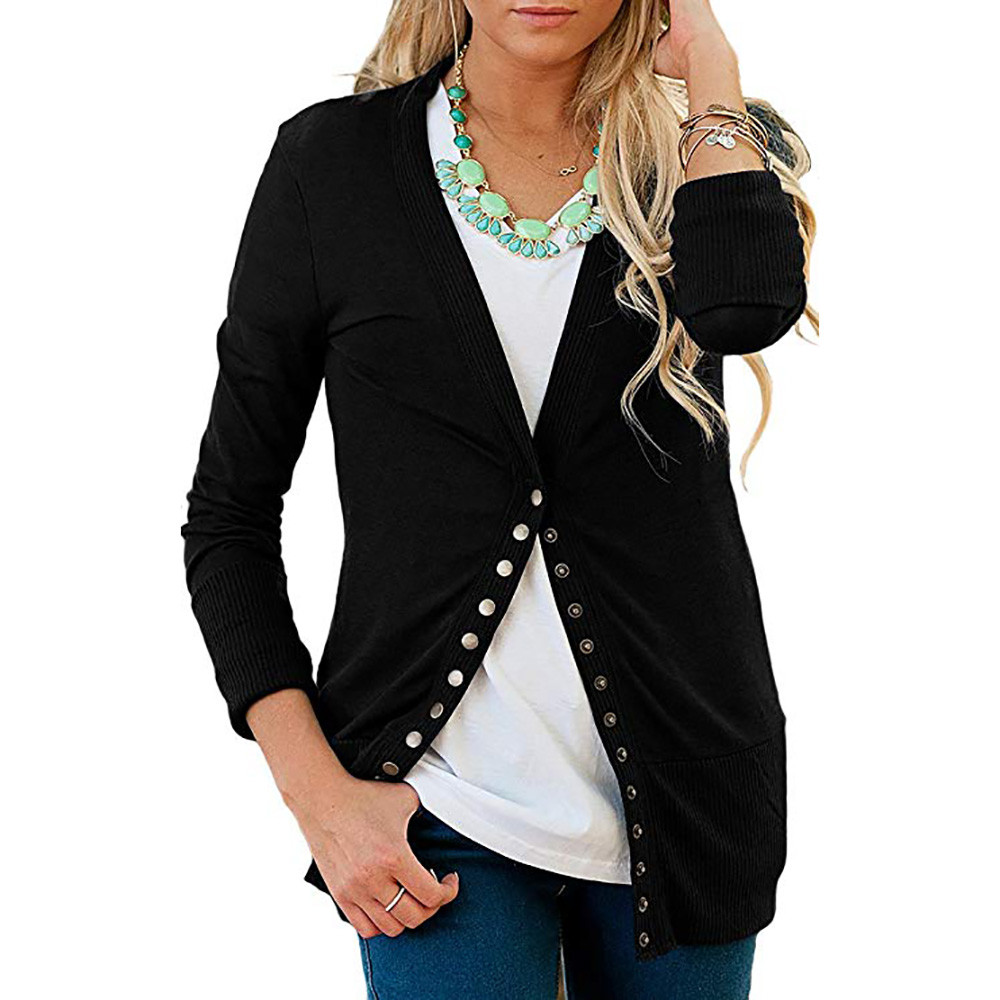 2020 Women Cardigan Solid V-Neck Thin Slim Top Knitting Sweater Lady'S Patchwork Long Sleeves Female Cardigan Sweater F30