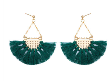 Этнический стиль Модные веерообразные серьги с кисточками в богемном стиле серьги ювелирные изделия - Цвет: Армейский зеленый