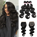 Brazilian Virgin Hair With Closure 3pcs Human Hair Weave With Closure Grade 7A Unprocessed Brazilian Body Wave with Lace Closure