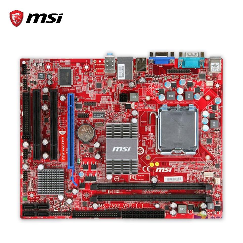 MSI G41TM-P31 Original Used Desktop Motherboard G41 Socket LGA 775 DDR2 8G SATA2 USB2.0 Micro-ATX msi g41m p23 original used desktop motherboard g41 socket lga 775 ddr3 8g sata2 usb2 0 micro atx