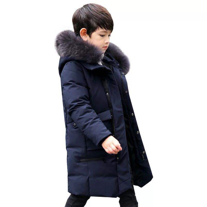 Children Boys Parka Clothes 2018 Kids Girls Winter Jacket with Fur Collar Long Warm Hooded Cotton Coats Big Size 8 10 12 14 Year boys winter parka jacket kids fur collar coats for teenager boys cotton outwear school children kids down jacket hooded clothes